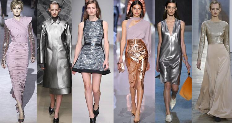 Модные модели одежды цвета металлик