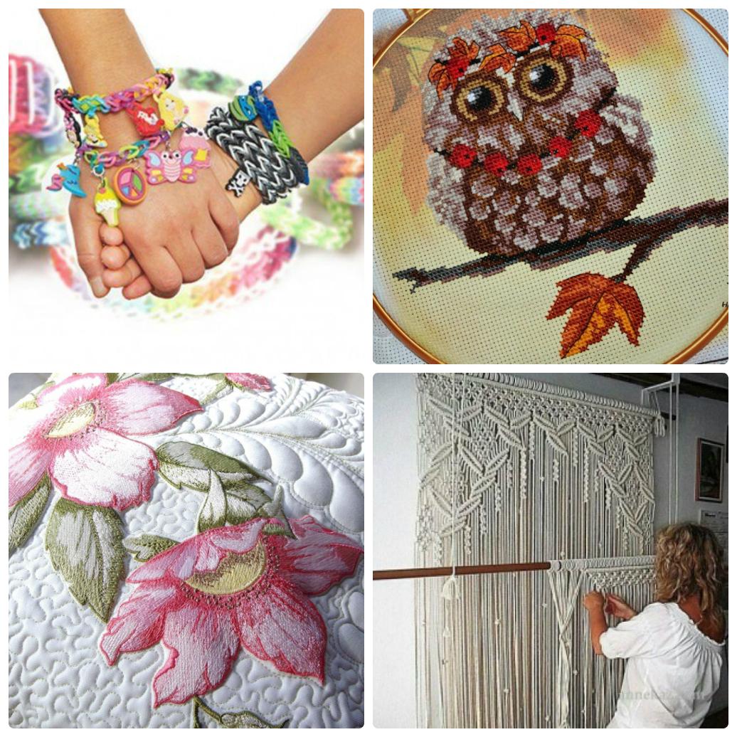 польза рукоделия для здоровья - плетение из резинок, вышивка, макраме