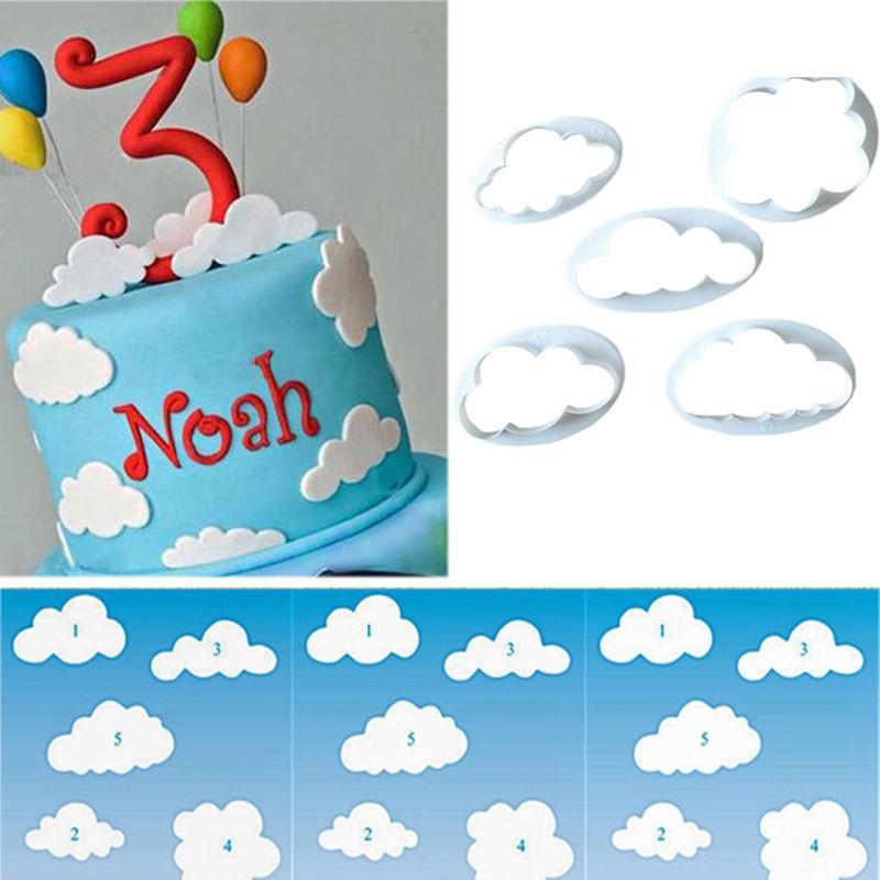 Tremendous 5Pcs Set Cloud Fondant Cutters Cake Cookie Buscuit Cutter Mold Funny Birthday Cards Online Hendilapandamsfinfo