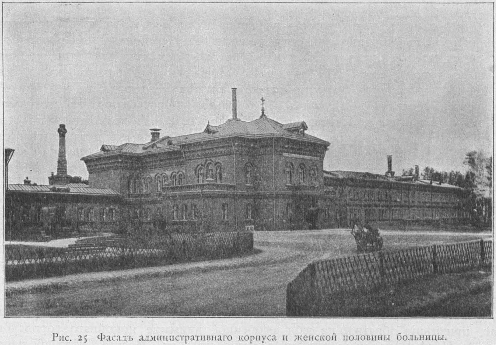 Психиатрическая больница им. Н. А. Алексеева. Фасад административного корпуса и женской половины больницы