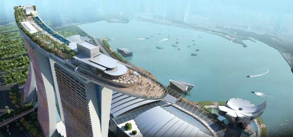 46. Бассейн на крыше отеля Marina Bay Sands Hotel в Сингапуре