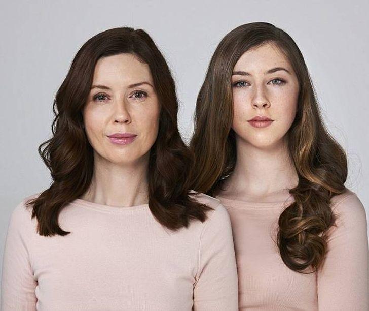 Слева: 45-летняя модель Ронда Макинтош, живет с мужем и двумя детьми в Глазго. Справа: ее 15-летняя