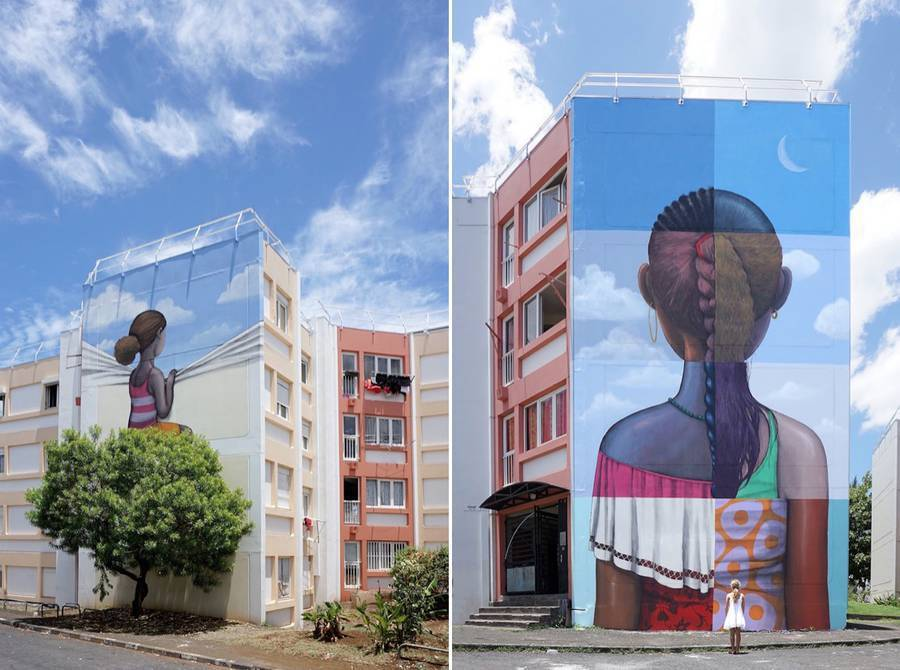 Gorg One , Seth Globepainter and Meo united to pay tribute to the cultural diversity of Reunion Isla