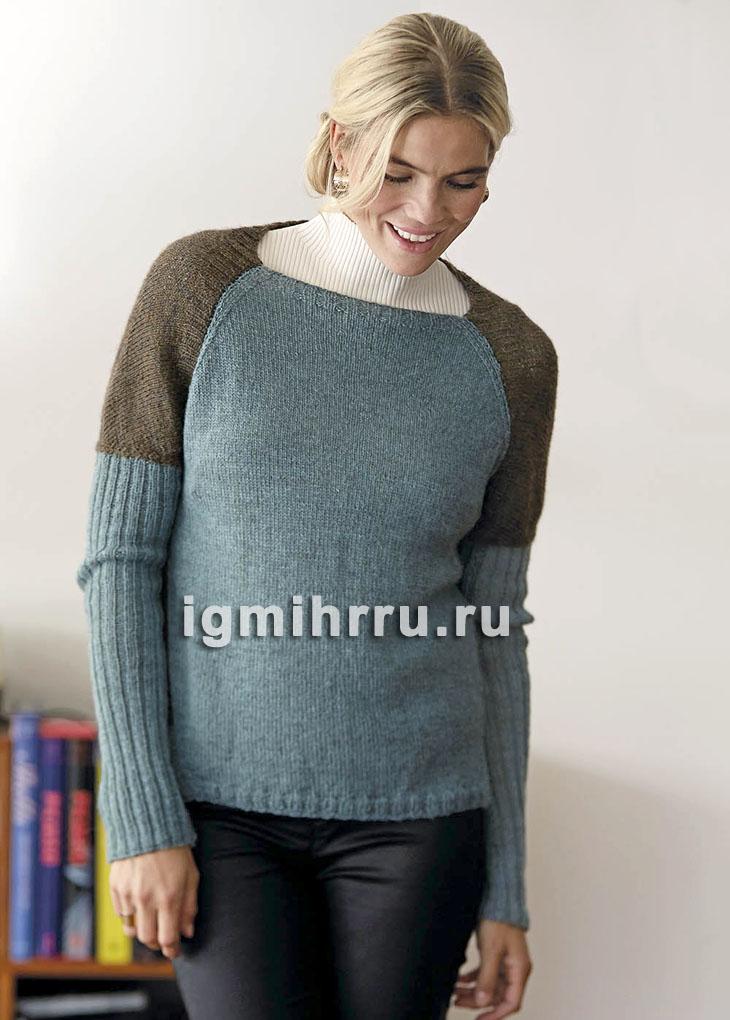 Двухцветный теплый пуловер со спущенными проймами. Вязание спицами