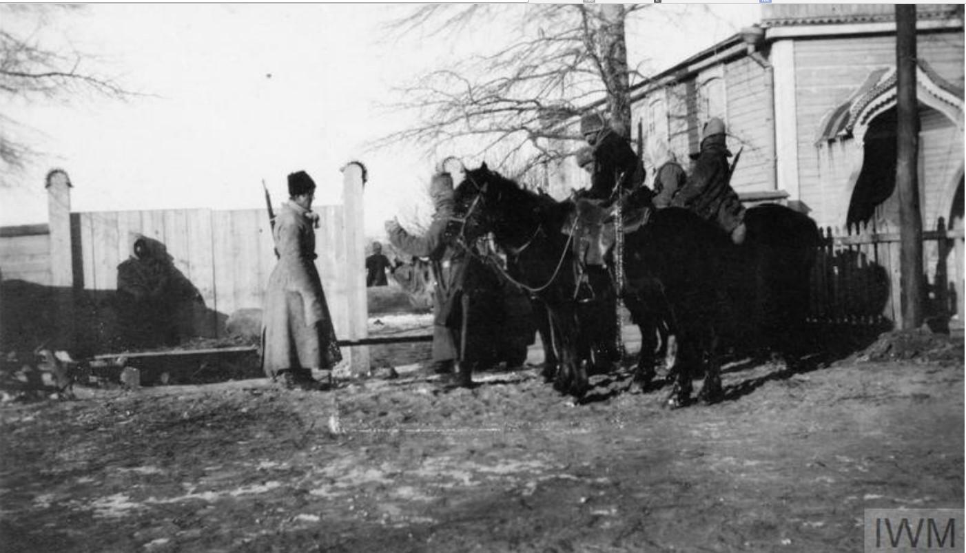 Казацкая кавалерия в зимнем обмундировании. Станица Мечётинская, январь 1920