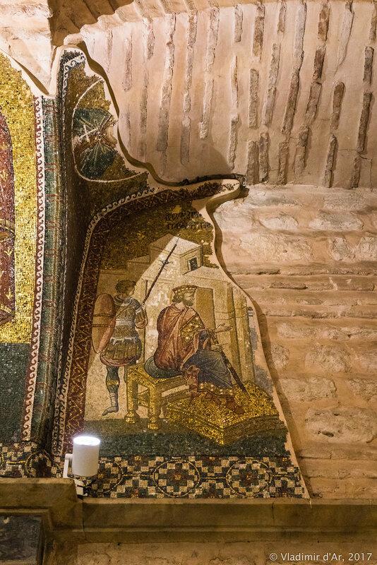 Где родиться Христу? Спрашивает Ирод у первосвященников и книжников (фрагмент). Мозаики и фрески монастыря Хора.