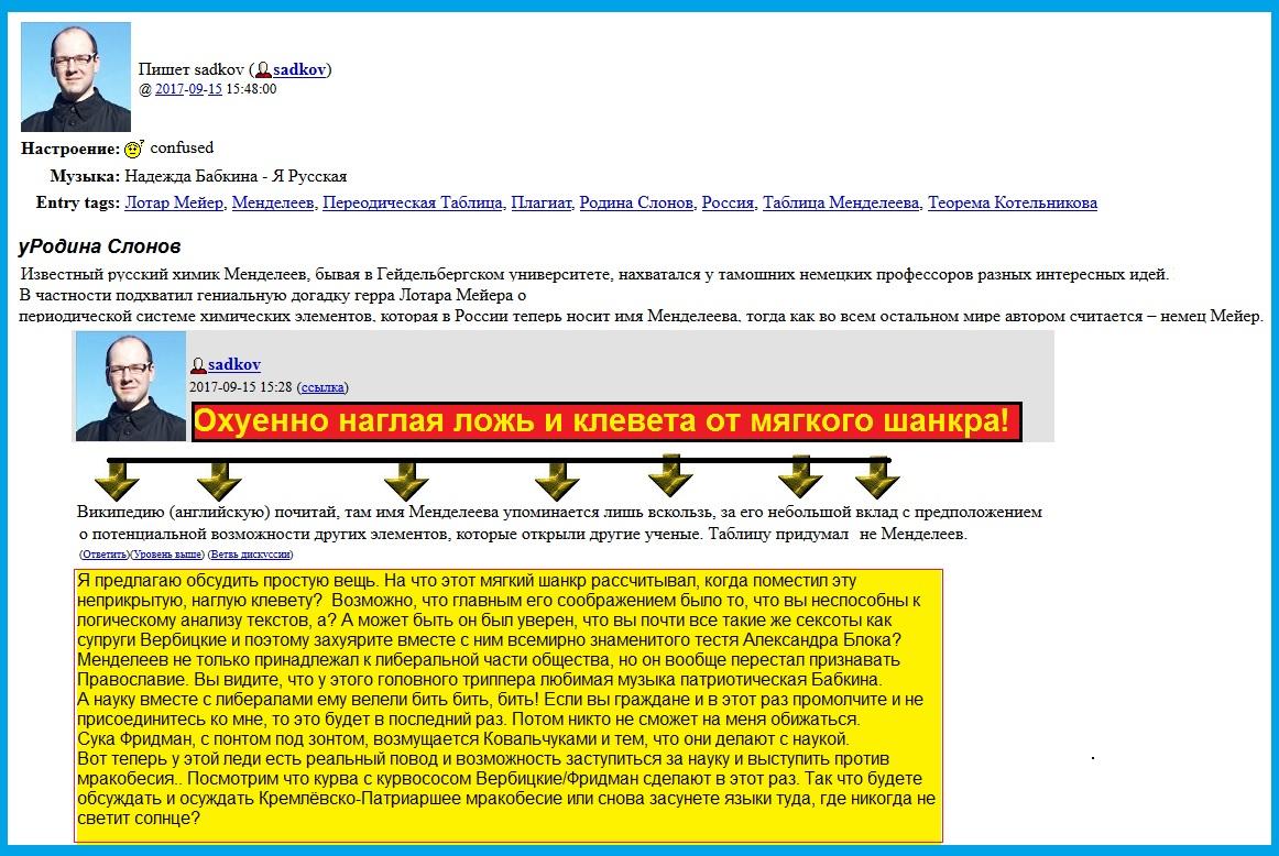 Менделеев, Садков, мракобесие, наука, РПЦ