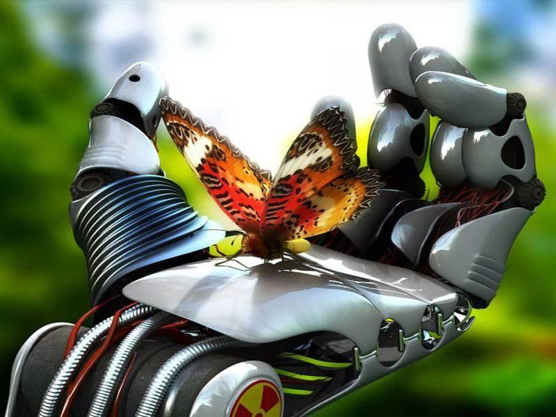 С днем инженера-механика. Бабочка на ладони робота открытки фото рисунки картинки поздравления