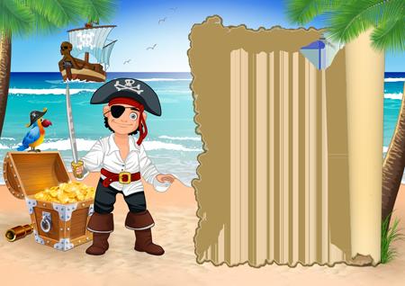 Фоторамка детская с вооруженным пиратом на острове сокровищ