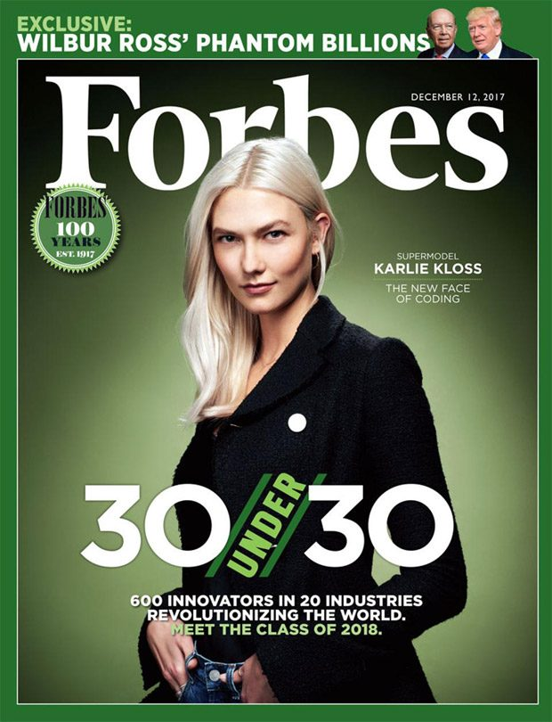 Kode with Klossy: Karlie Kloss Covers Forbes Magazine 30 Under 30 Issue (2 pics)
