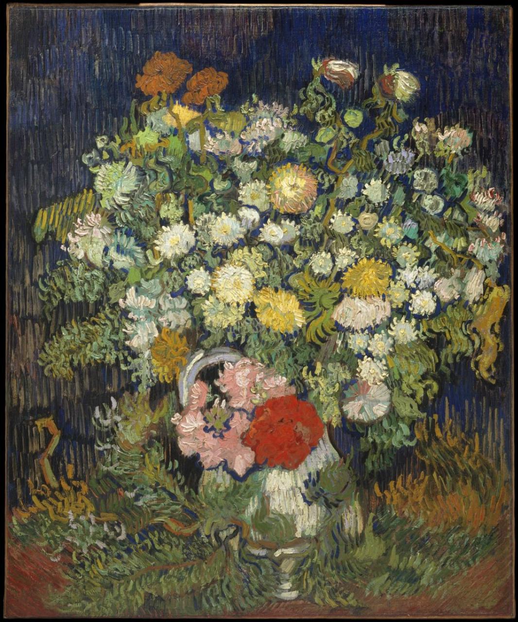 Винсент Ван Гог. Хризантемы и дикие цветы в вазе.