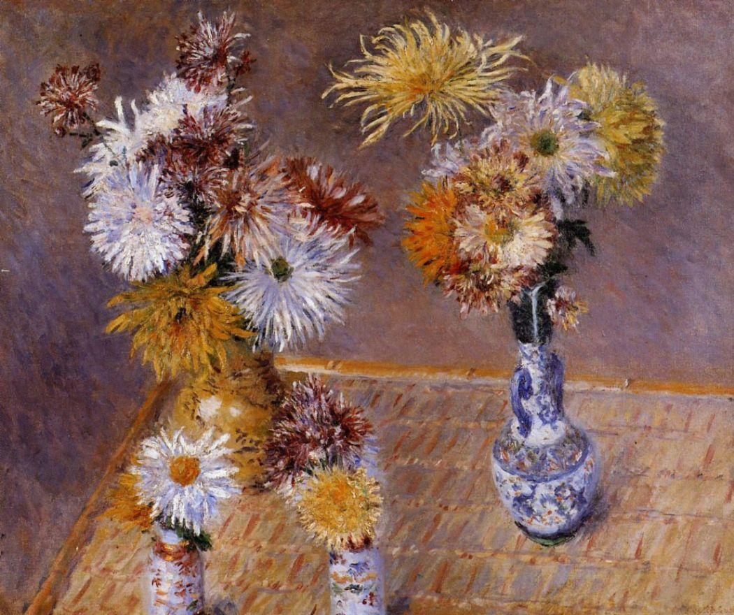 Гюстав Кайботт. Четыре вазы хризантем.
