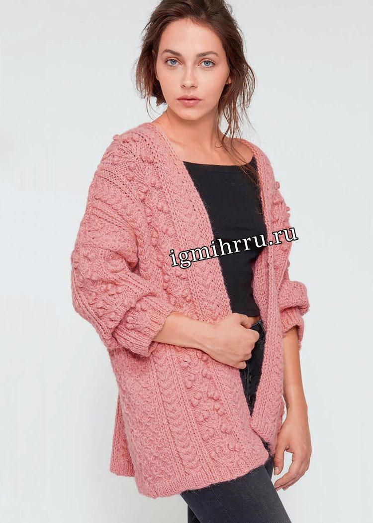 Теплый розовый жакет с миксом узоров. Вязание спицами