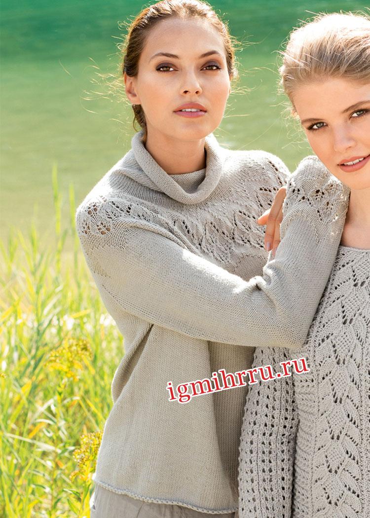 Серый свитер с круглой кокеткой из листьев. Вязание спицами