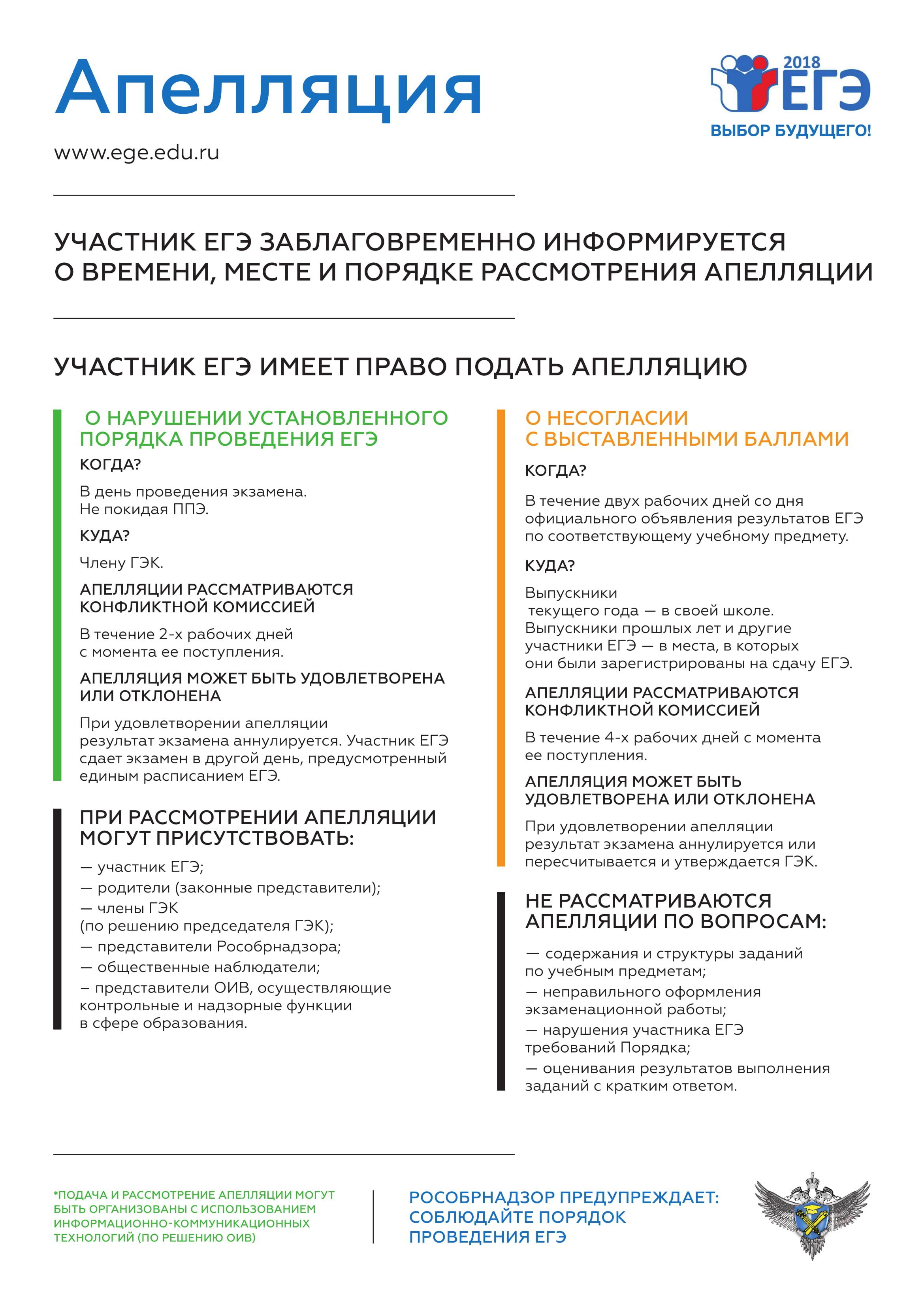 """Плакат ЕГЭ """"Аппеляция"""""""