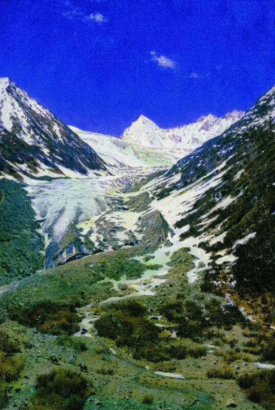 Ледник по дороге из Кашмира в Ладакх. Этюд 1875 ТТГ