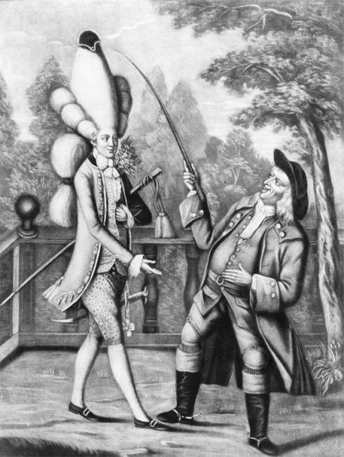 Французская дама в Лондоне. Карикатура Сэмюэля Иеронимуса Гримма, 1771 год.