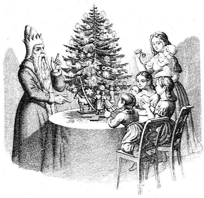 Гравюра из немецкой книги «50 басен с картинками для детей»   К XVII веку рождественское дерево