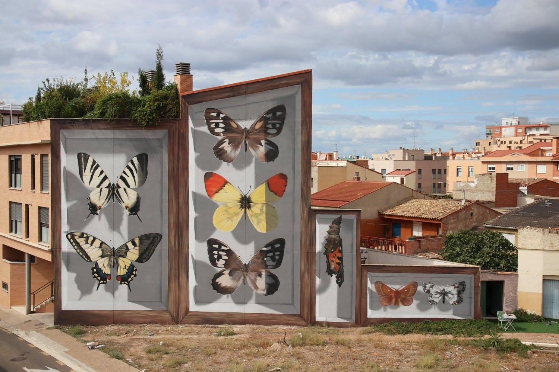 Mariposas de Aragon, 2017. Festival Internacional de Arte Urbano. Photo by Juanjo Fernandez.