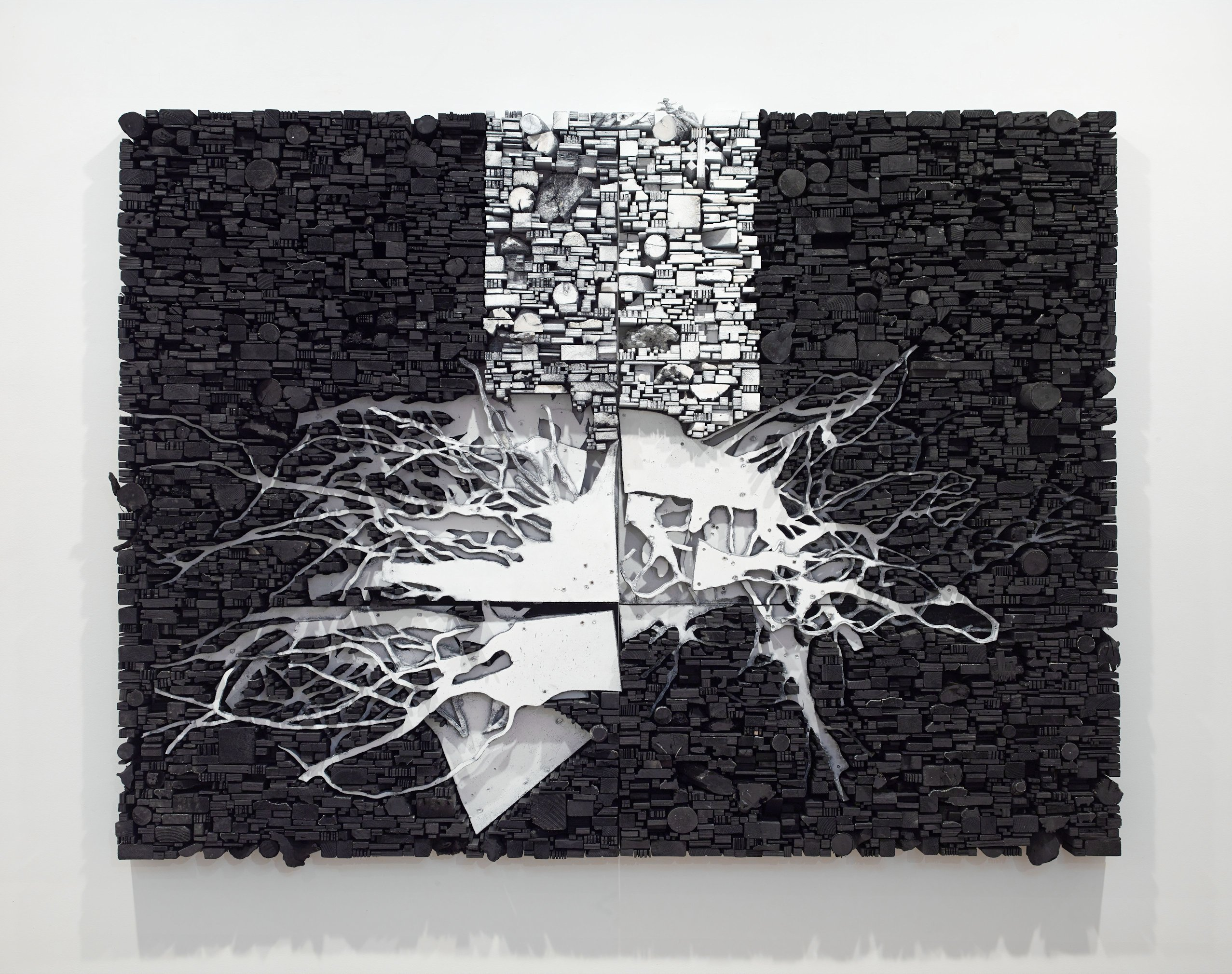 Leonardo Drew is an artist known for his large wall-mounted sculptures composed of jagged tree trunk