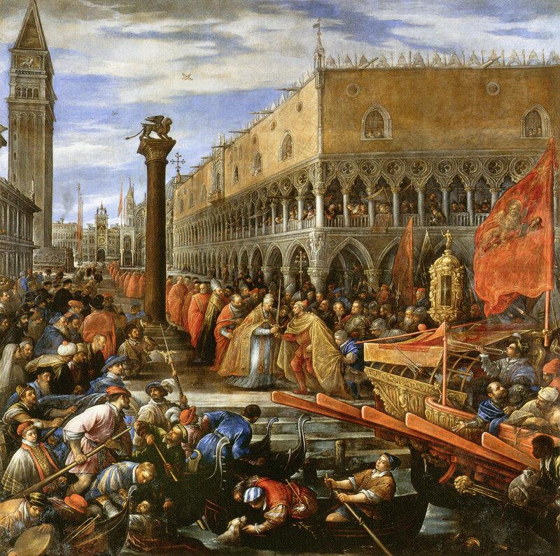 Франческо Бассано. «Папа Александр III вручает меч дожу Себастьяно Циани, отправляющемуся на успешную морскую кампанию против Оттона, сына Императора Барбароссы». 1590 г.