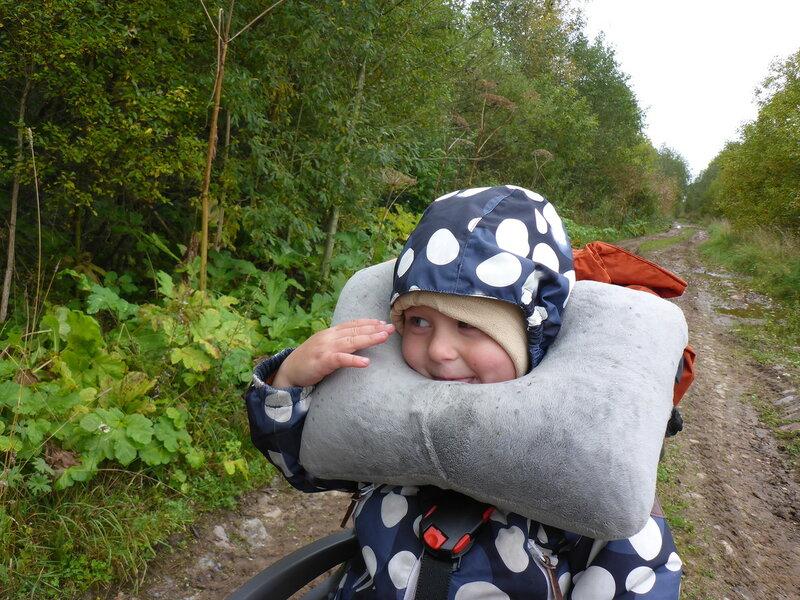 ребенок в велокресле с надувной подушкой