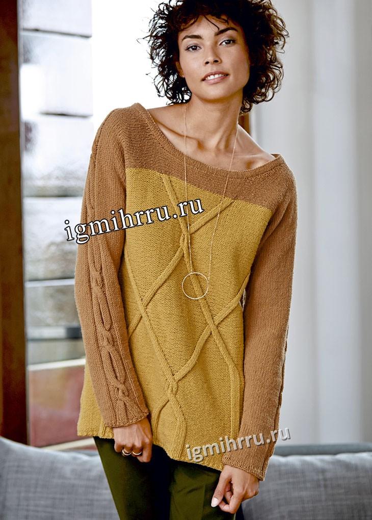 Элегантный шелковый пуловер с крупными ромбами и косами. Вязание спицами