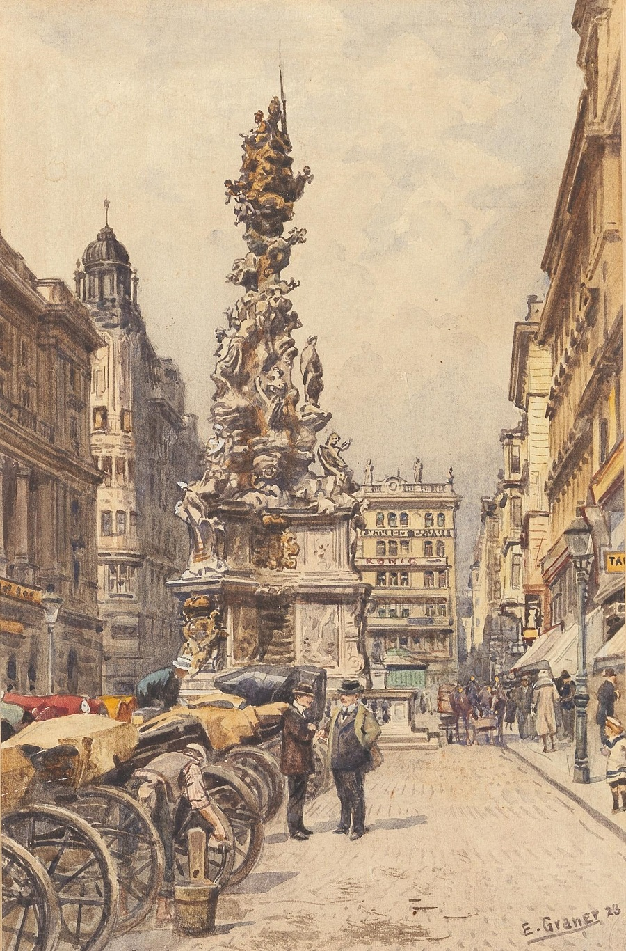 The Plague Column on the Graben , 1923