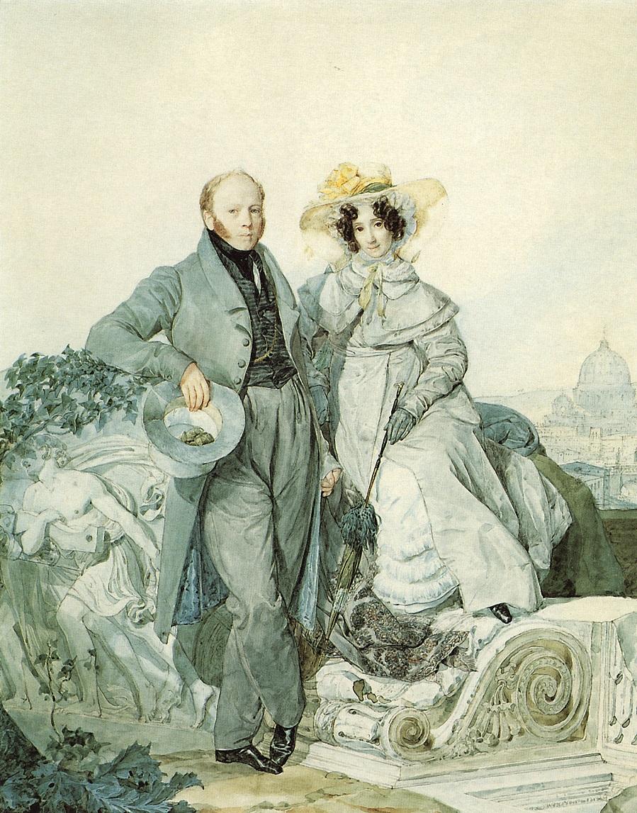 Портрет Г.Н. и В.А.Олениных. 1827 Государственная Третьяковская галерея, Москва.