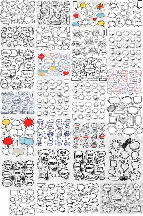 Большой набор для разговорных комиксов в векторе