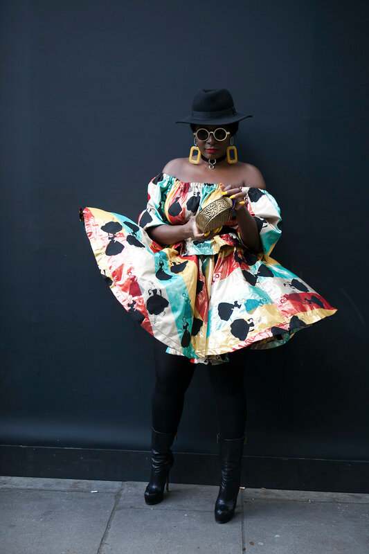 LONDON, ENGLAND - September 15, 2017 Beautiful and stylish woman posing during the London Fashion Week.