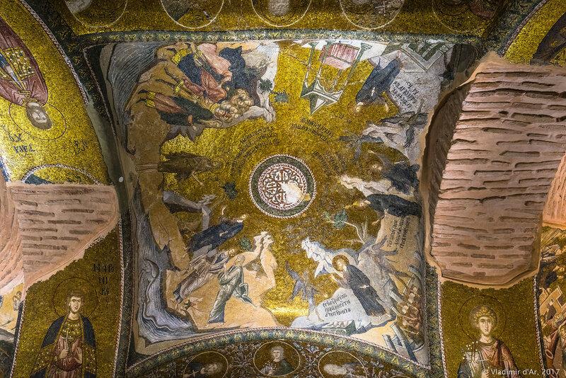 Христос среди учителей в Иерусалимском храме. Проповедь Иоанна Предтечи. Мозаики и фрески монастыря Хора.