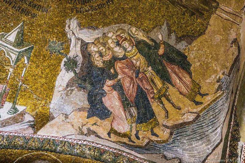 Проповедь Иоанна Предтечи.  Мозаики и фрески монастыря Хора.
