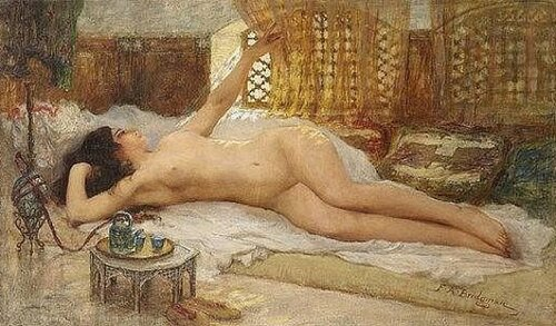 Nude At The Tableside  Frederick Arthur Bridgman
