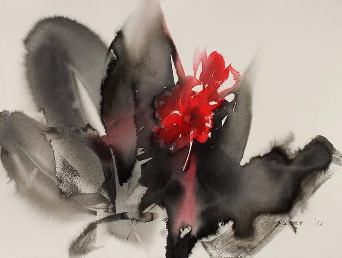 Акварельные цветы / художник Endre Penovac