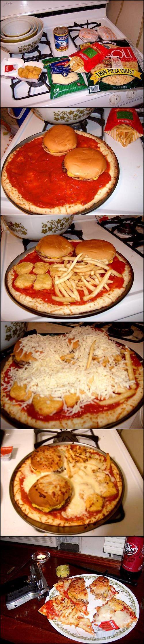Пицца. Они добавили в нее гамбургеры и наггетсы, извращенцы.
