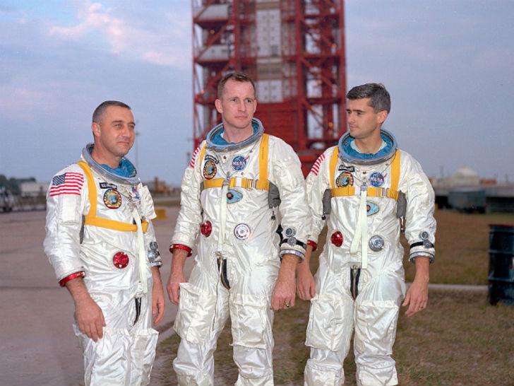 Экипаж корабля «Аполлон-1» за несколько дней до трагедии. 21 февраля 1967 года во время наземных исп