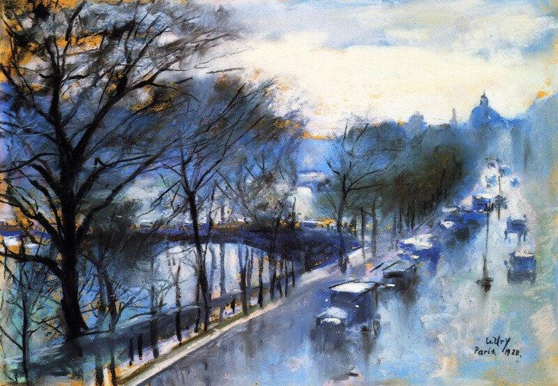 Париж, дождливый день на набережной Вольтера. Лессер Ури. 1928, 34.5×50 см
