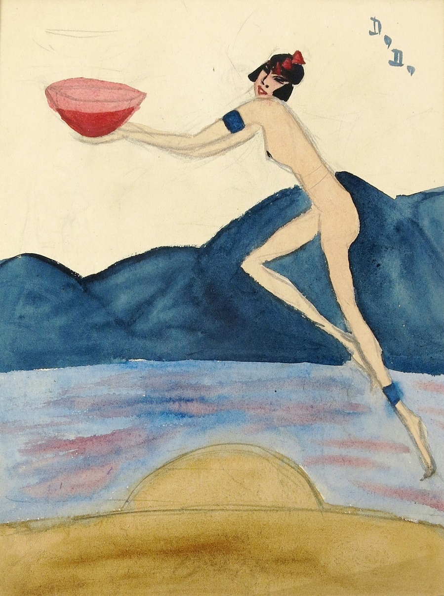 Nude Woman Holding a Bowl