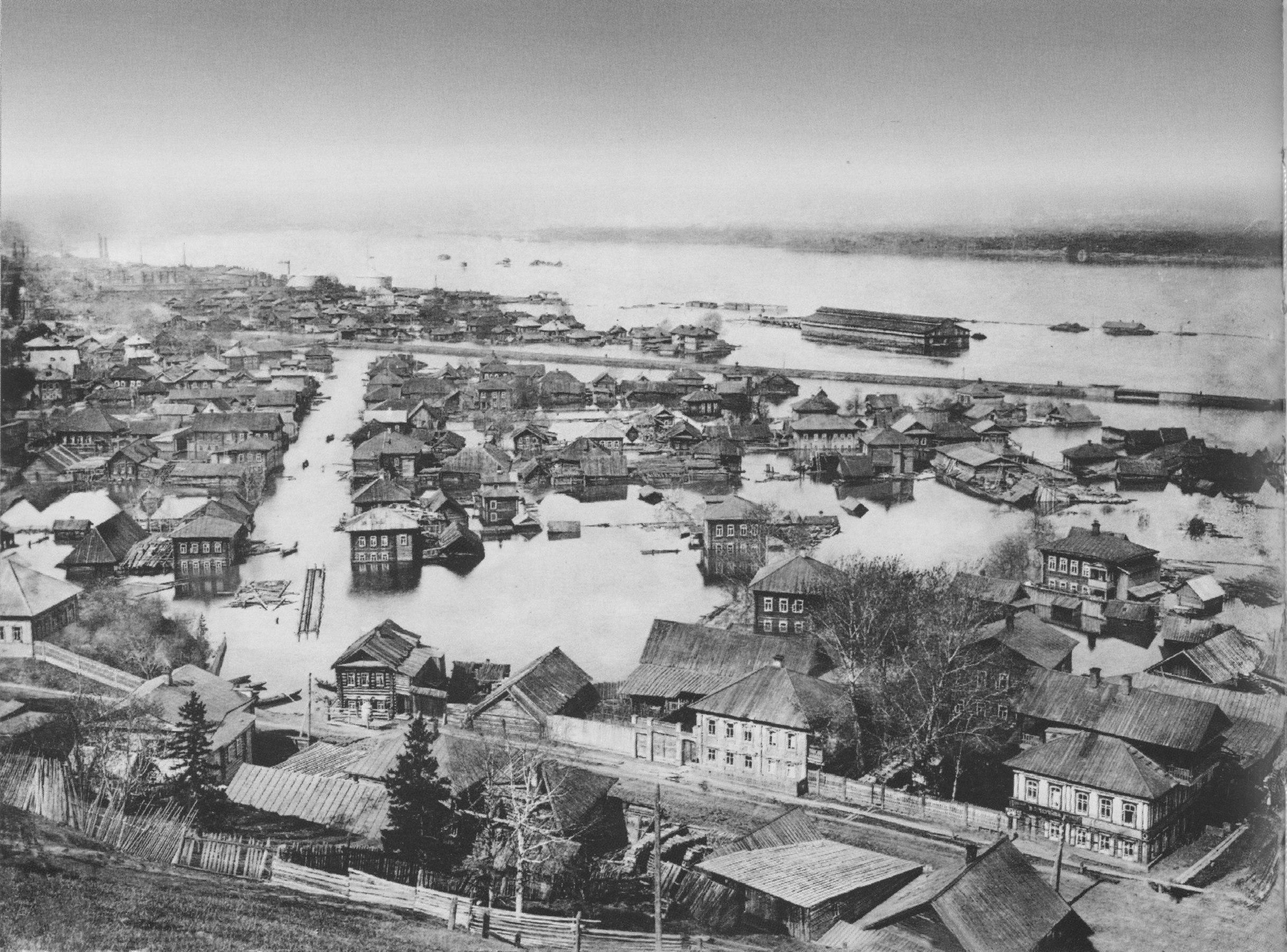 Панорама с Вышки во время наводнения. Соликамский тракт