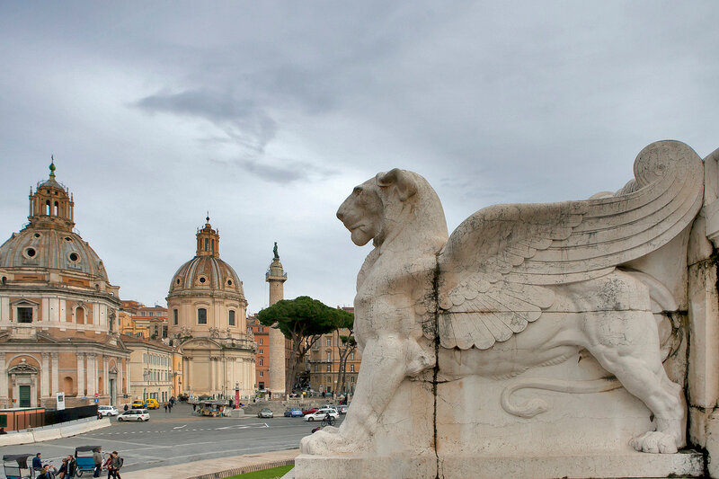 Piazza Venezia - View of Santa Maria di Loreto Church, Palazzo Valentini and Trajan Column from steps of Altare della Patria