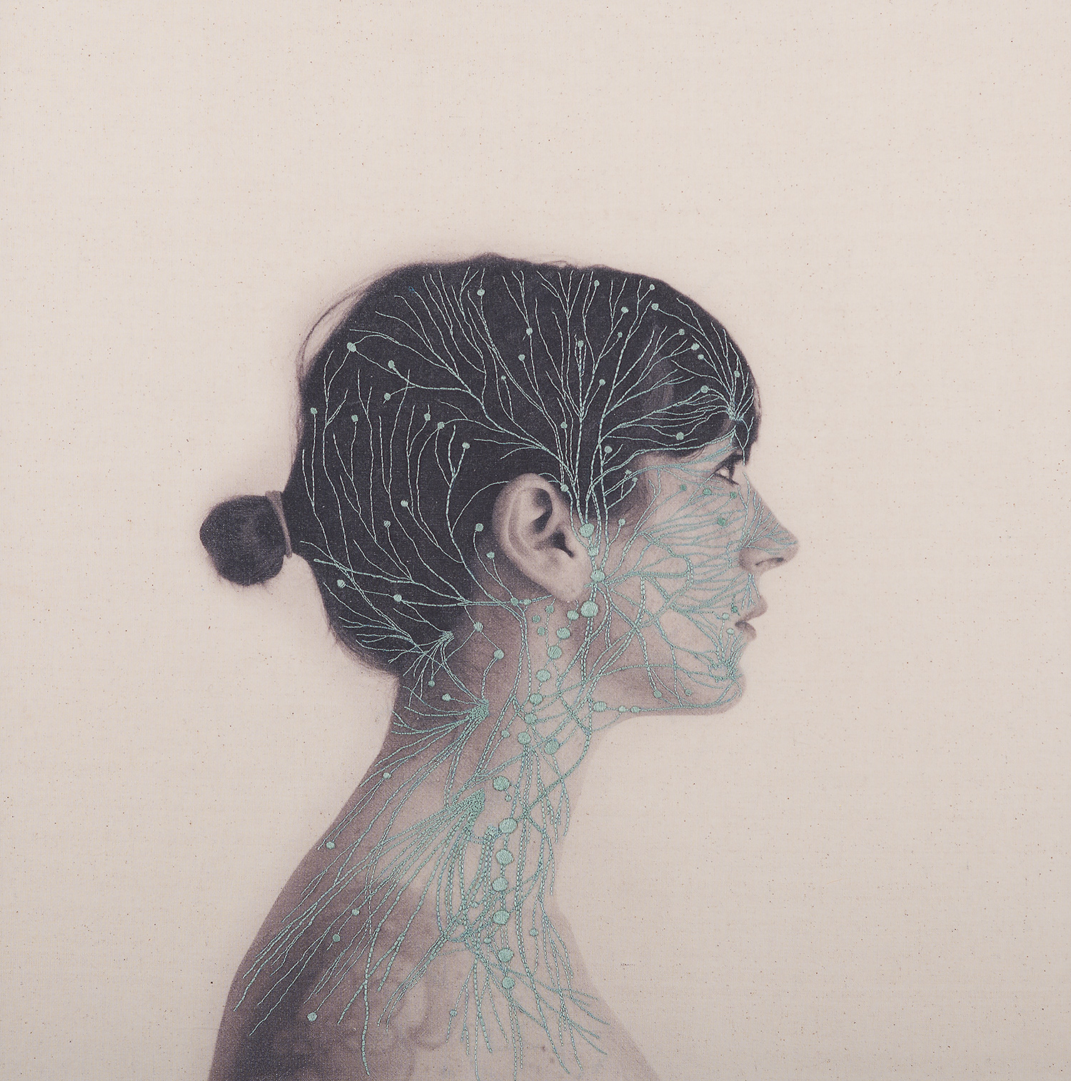 Self Portraits Embroidered With Images of Blood Vessels, Bones, and Muscle Tissue by Juana Gomez