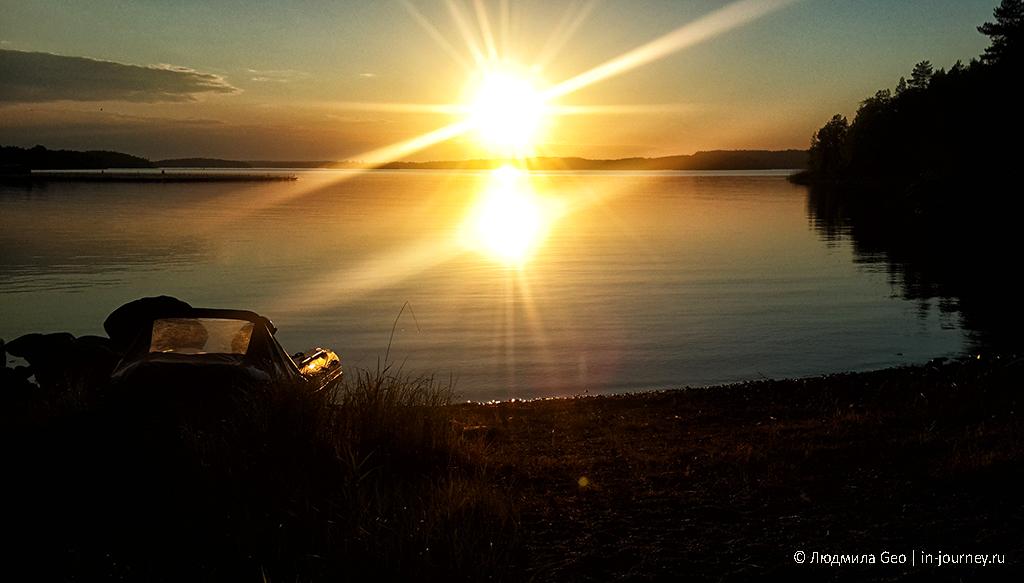 фото заката на Ладожских шхерах