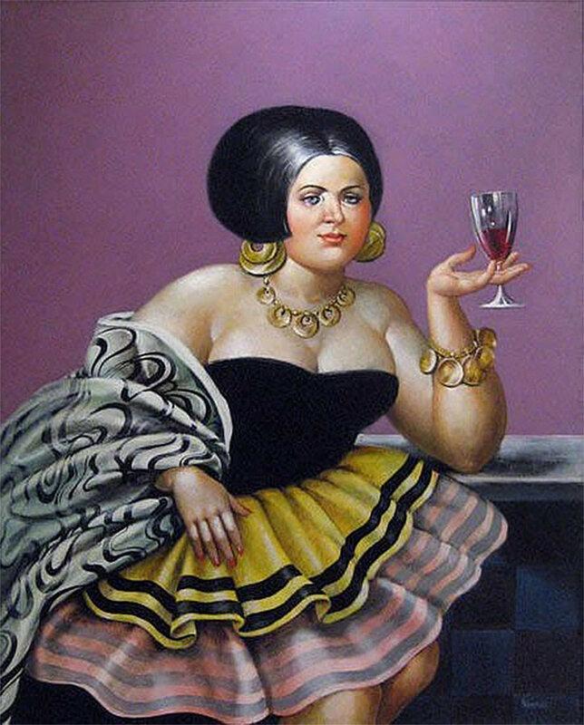 Праздничная дама с бокалом вина (названия не было)