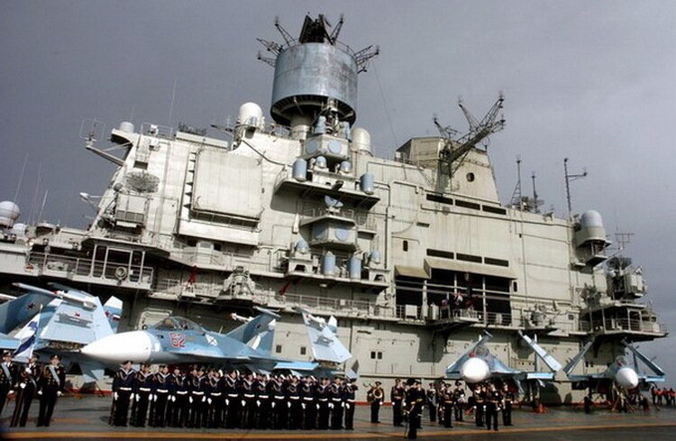 Russian aircraft carrier Kuznetsov,at the Syrian city of Tartous on the Mediterranean sea