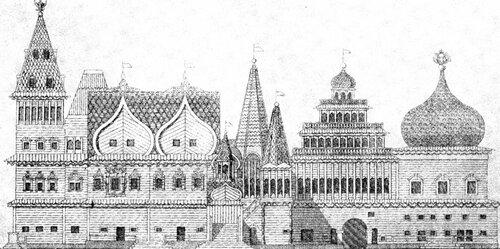 Рисунок 89. Государевы хоромы Коломенского дворца, фасад (И. Забелин).
