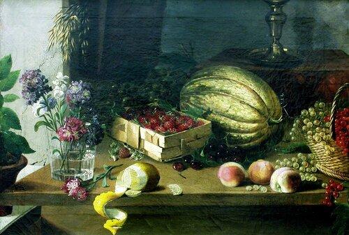 Хруцкий, Иван Фомич (Трофимович«Цветы и плоды» Фрагмент.(1838).( Энц. жи-си).jpg