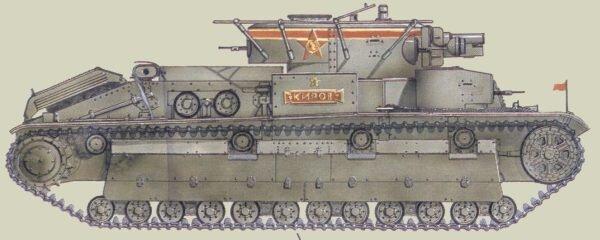 Танк Т-28, схема окраски, командирский танк.