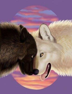"""Схема вышивки  """"Пара волков """" от автора Luchenka: 190 x 143 крестов, 77 цветов."""