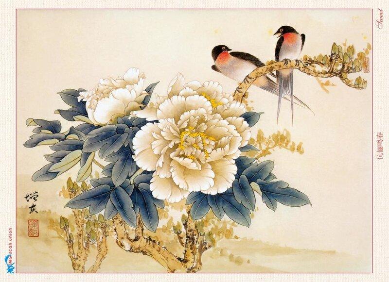 Изображение пиона - одно из самых распространенных в китайской живописи.